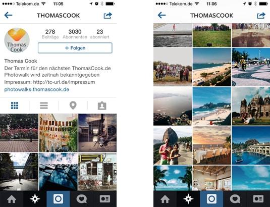 Thomas Cook bei Instagram