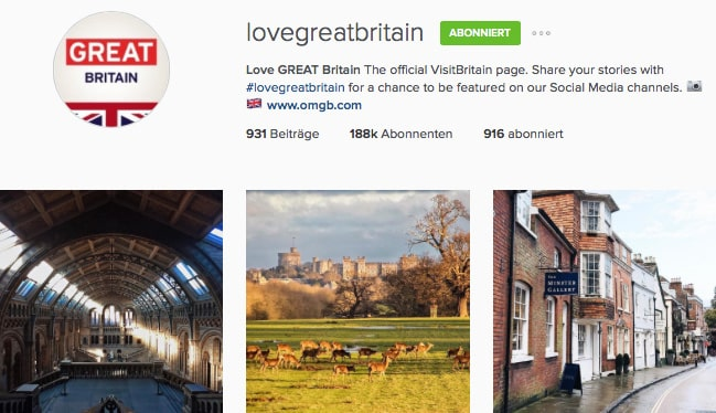 Love Great Britain Instagram