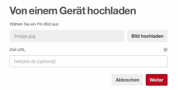 Pinterest Ziel-URL